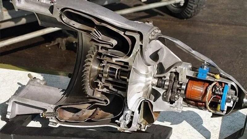 corte del starter o arrancador del snecma atar 09c donde se ven los componentes internos