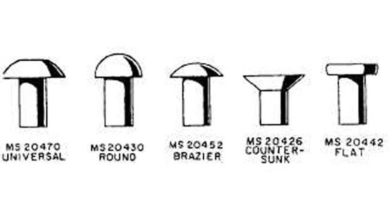 diferentes tipos de remaches aeronauticos