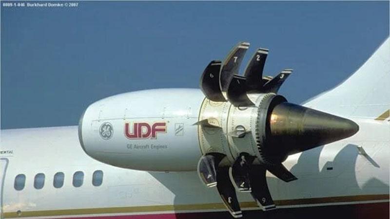 motor ge36 unducted propfan montado en un avion md80